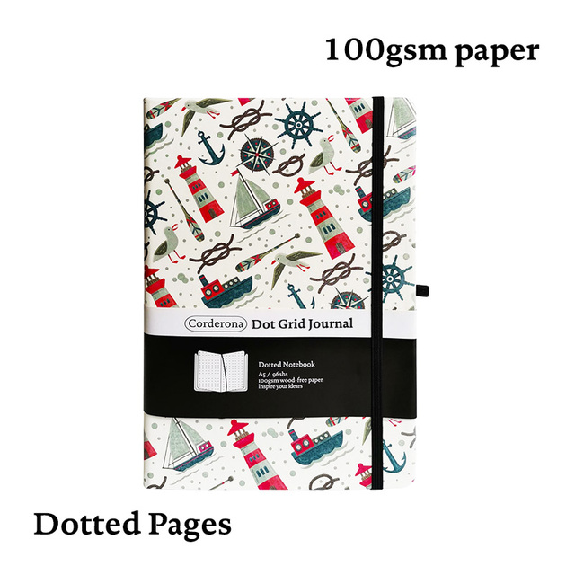 Sail A5 Dotted NotebookDot Grid Journal Lighthouse Hard Cover Elastic Band Travel Diary  Planner