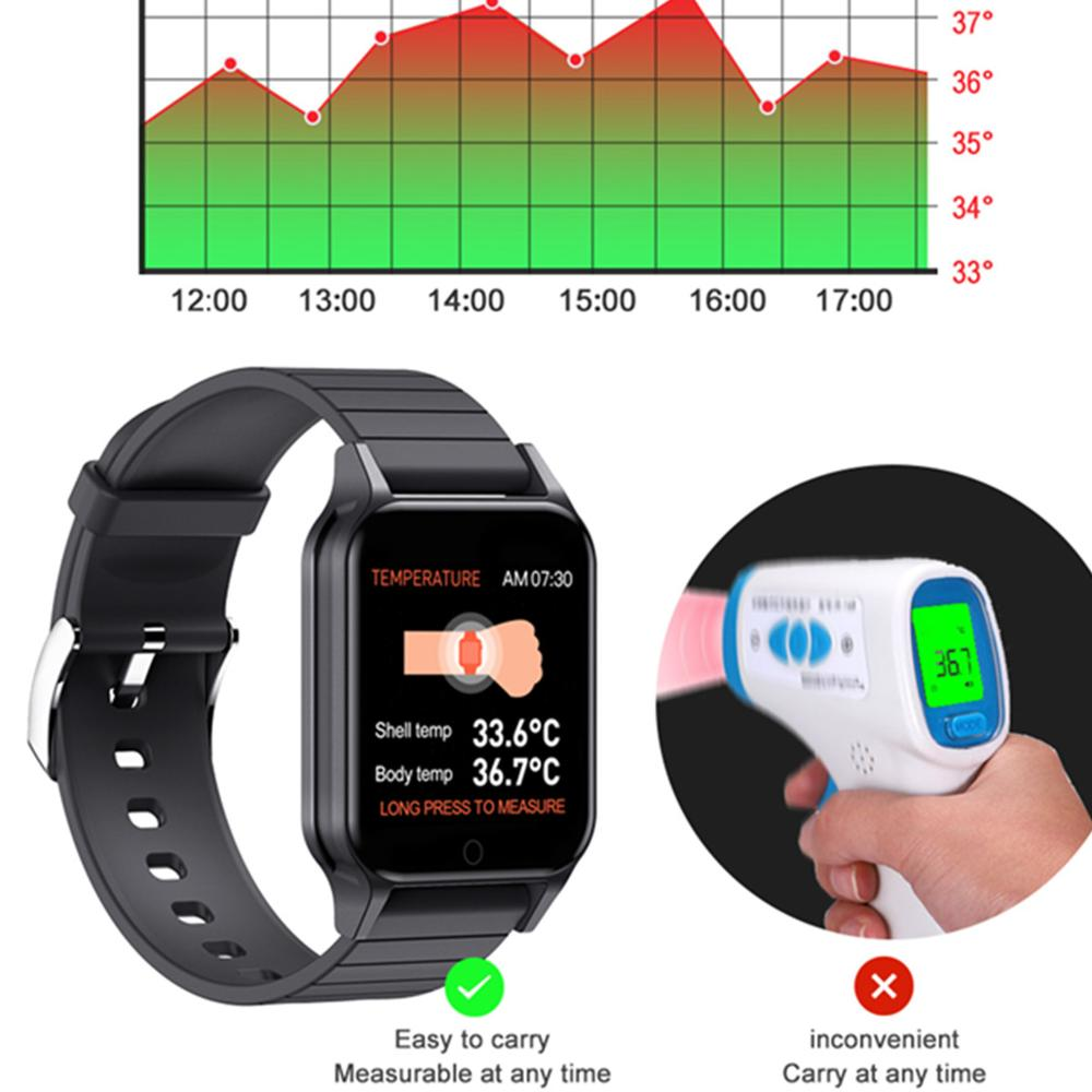 T96 Intelligent Watch Measures Body Temperature Heart Rate Blood Pressure Blood Oxygen Smart Bracelet Touch Control Fitness Band