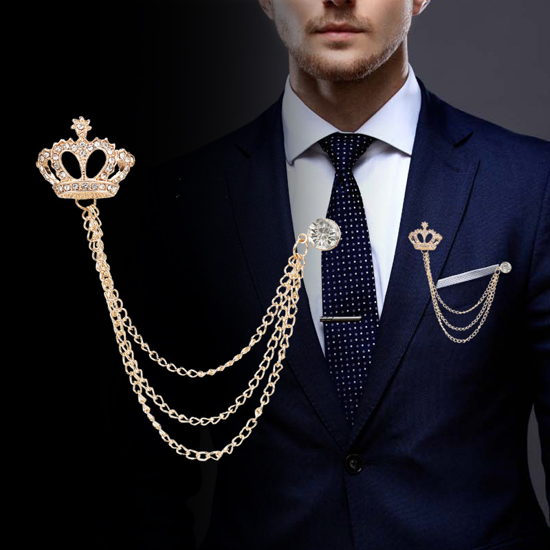 Mens Clear Crystal Rhinestone Brooch Lapel Pin Crown Coat Suit Jewelry Gift WS