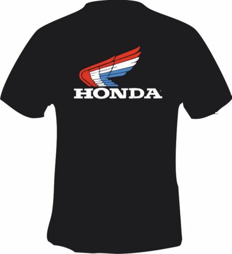 Retro Honda Style Wing Red White Blue  Printed T Shirt In 6 Sizes