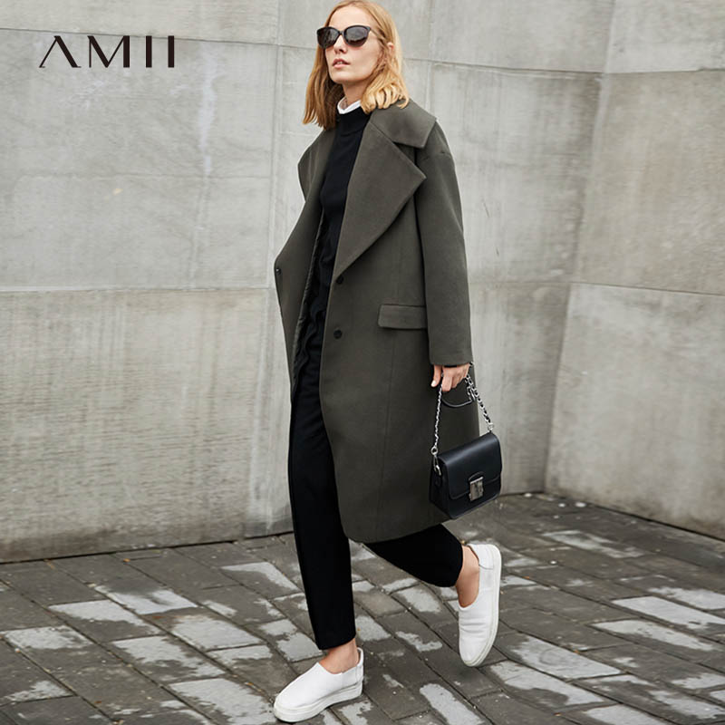 Amii Winter Women Elegant Blends Female Causal Turn Down Collar Solid Loose Long Woolen Coat Overcoat 11787379