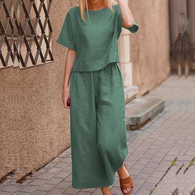 Elegant Short Sleeve Outfit Women Solid Cotton Linen Two Piece Sets Casual O Neck Tops + Wide Leg Pants Suits 5