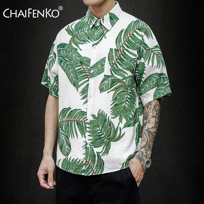 CHAIFENKO 2020 New Hot Summer Holiday Fashion Printed Short Sleeve Shirts Men Beach Hawaiian Leisure Button Men Shirts Plus Size