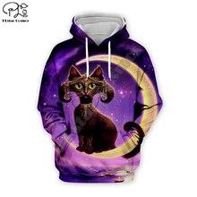 Black cat print Men 3d galaxy Hoodies terror Halloween Christmas skull Sweatshirt tshirt zipper pullover women unisex Tracksuit цена и фото