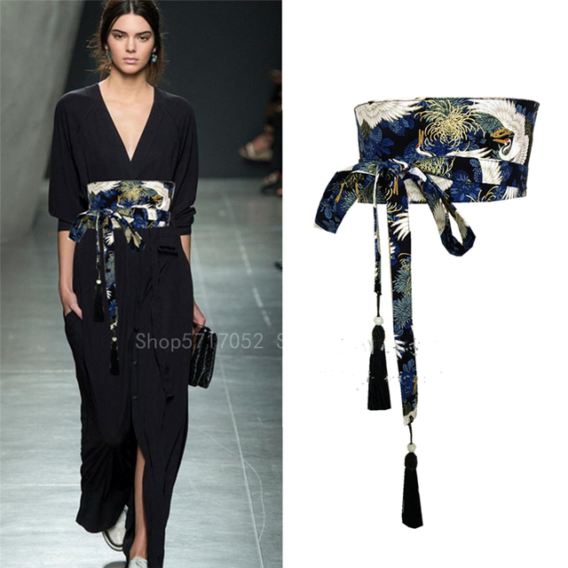Asian Japanese Kimono Fashion Tassel Obi  Crane Belt 1