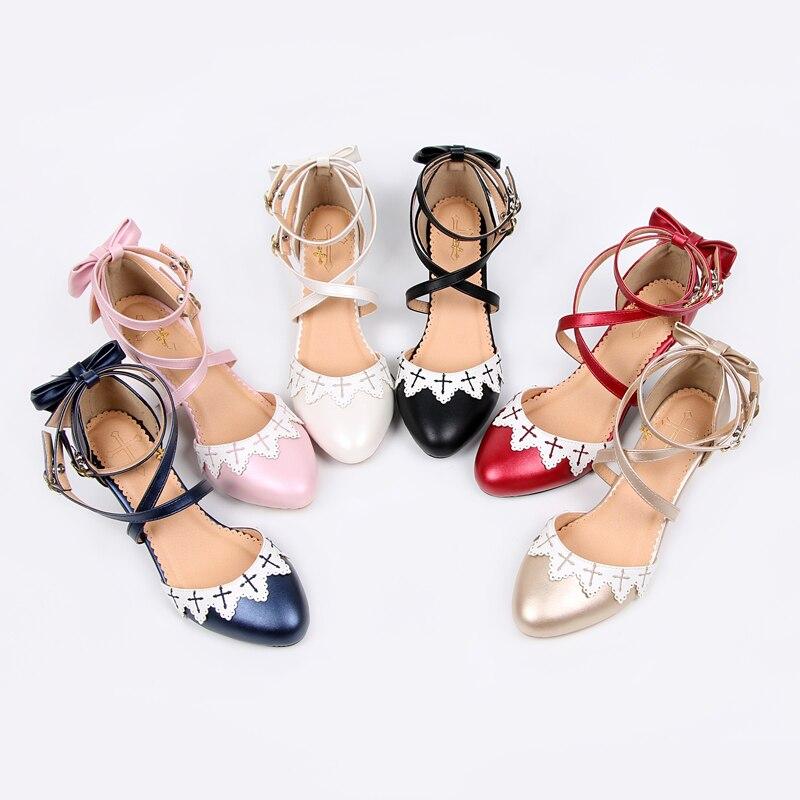 Купить летние аниме косплей туфли лолиты вышивка крест бант обувь kawaii