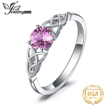 JewePalace Celtic Knot Created Pink Sapphire Ring 925 Sterling Silver Rings for Women Promise Engagement Jewelry