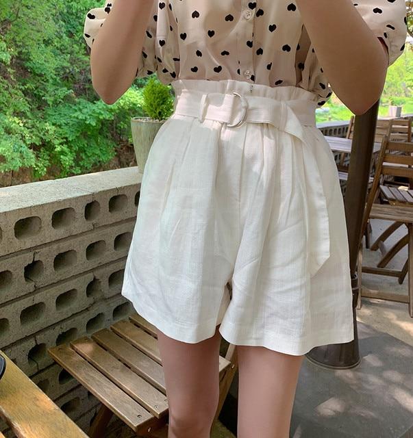 printed micro tops  high waist loose pants  white shorts Shirt Spring femme Casual Tops Women short sleeve chiffon Girls Blouse 3