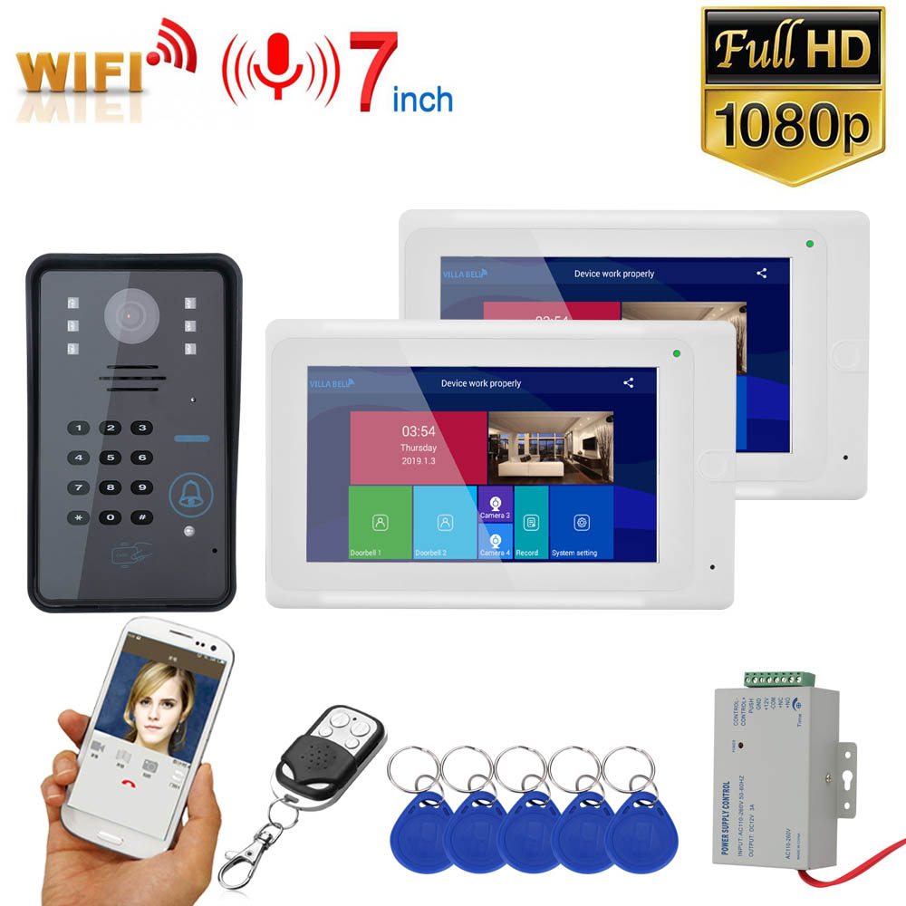 7inch 2 Monitors Wireless Wifi RFID Password Video Door Phone Doorbell Intercom Entry System With Wired IR-CUT 1080P Wired Camer