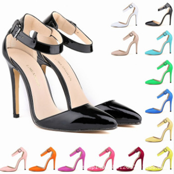 Summer fashion women's comfortable patent-leather shallow mouth sandals classic pointed high heels women's high heels sandals
