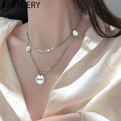 ANENJERY-collier rond fait main étoile avec lettres de sourire, couleur argent, thaï, Anti-allergique, S-N659