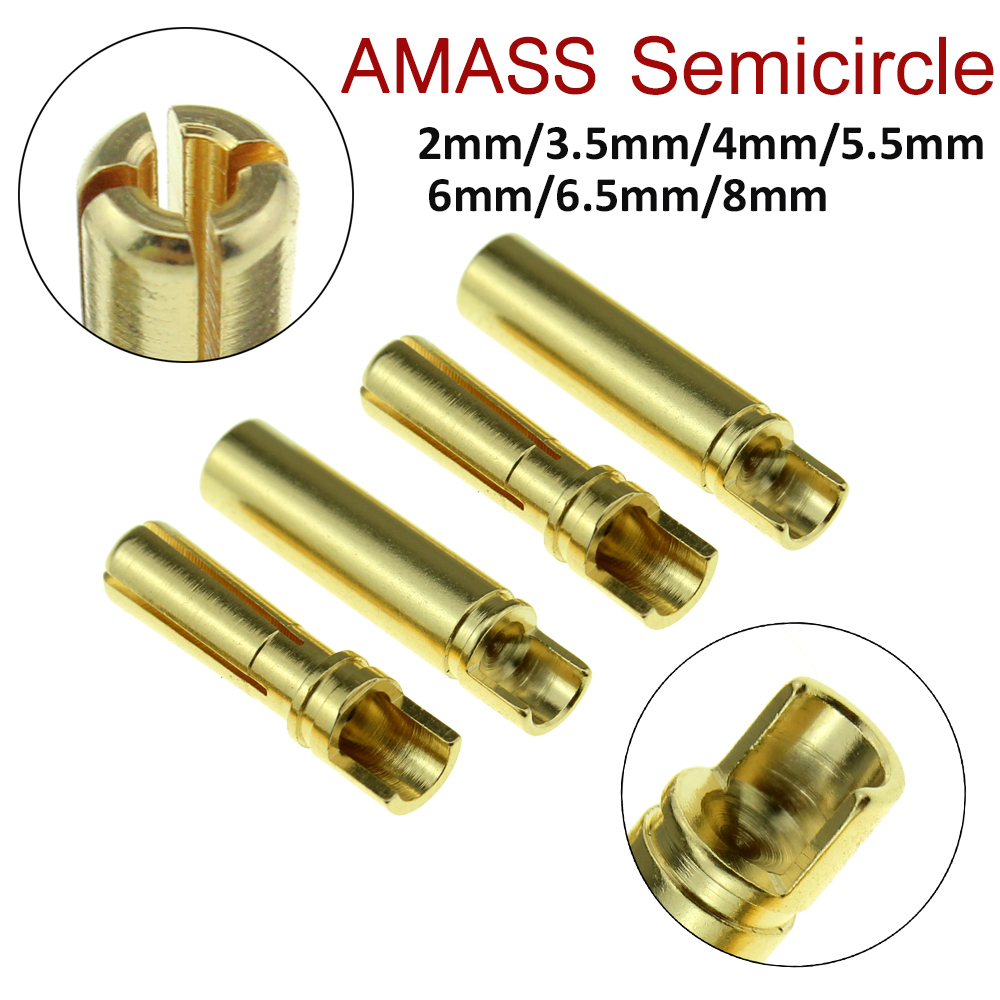 10pair New Amass Banana Plug 2mm 3.5mm 4mm 5.5mm 6mm 6.5mm Bullet Female Male Connectors Gold Plated Copper Semicircle