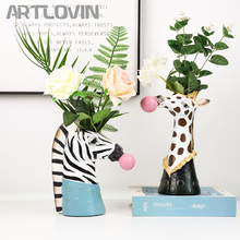 New Modern Animal Head Resin Succulent Vase Flower Pot Hand Painting Giraffe/Zebra/Bear/Panda Blowing Bubbles Animal Bust Figure