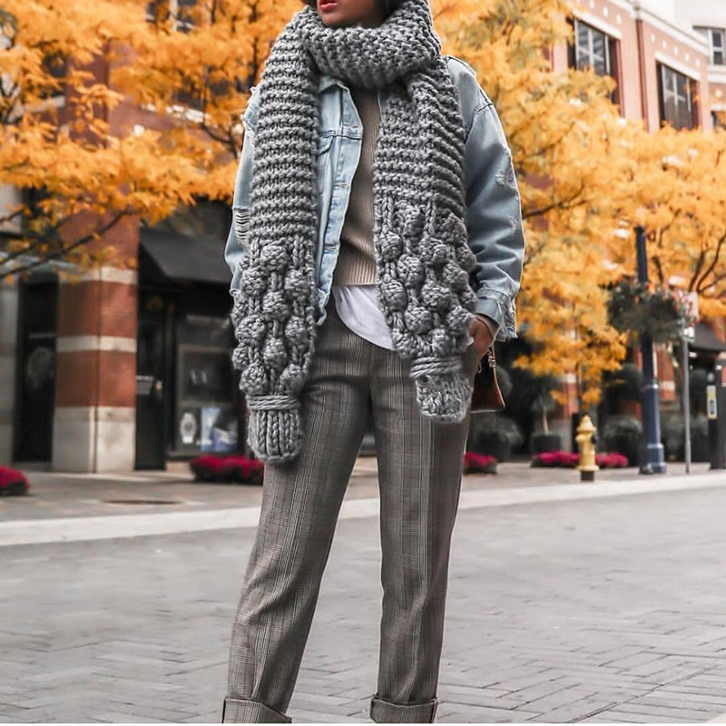 2019 New knitted wool neck manual rod needle thick needle wool winter warm scarf shawl