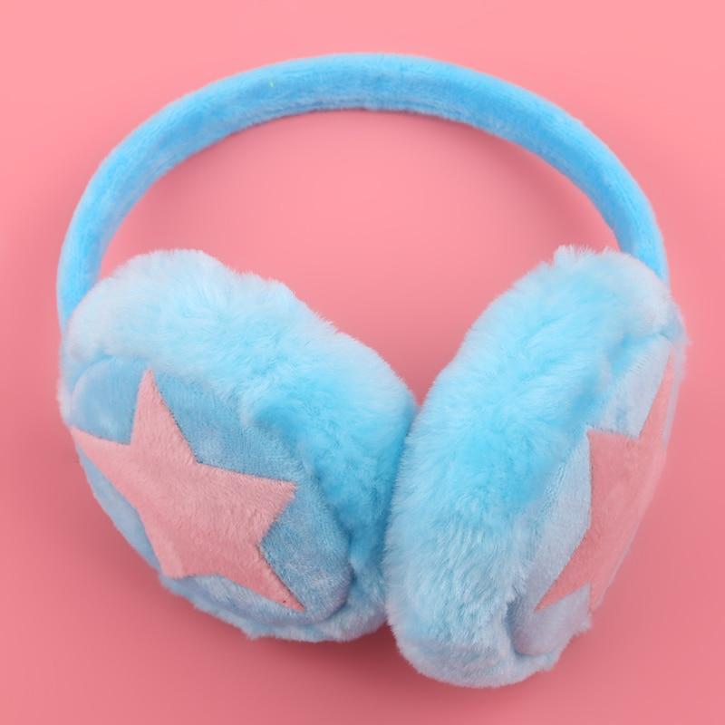 Multicolor Unisex Star Plush Fur Ear Muff Adjustable Winter Warm Earmuffs For Children Cashmere Ear Cover Headband Gift For Girl