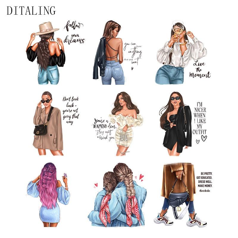 Модные женские Термальность наклейки на одежде для девочек гладить на патчи для одежды Бесплатная доставка DIY моющаяся футболка с переводн...
