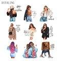 Mode Dame Thermische Aufkleber Auf Kleidung Mädchen Eisen Auf Patches Für Kleidung DIY Waschbar T-Shirt Wärme Transfer Patches Appliqued
