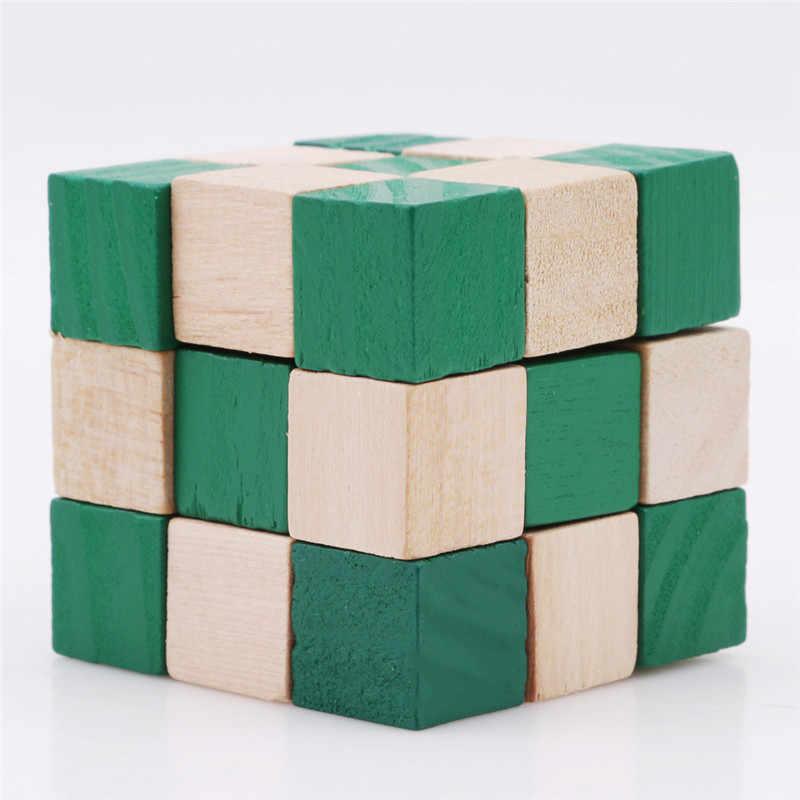 27 חלקים קוביית עץ נחש שליט נחש טוויסט פאזל מכירה לוהטת אתגר IQ מוח צעצועי קלאסי משחק חדש