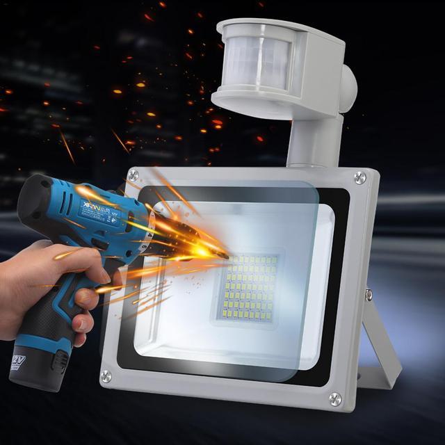 1 pièces Infrarouge PIR détecteur de mouvement LED Lumière Dinondation 30w SMD Ip65 Réflecteur lampe à LED Projecteur Pour Léclairage Extérieur Blanc Froid