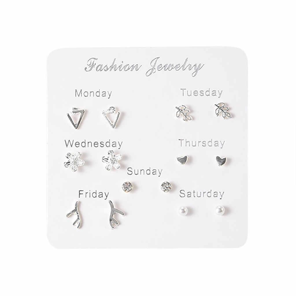 2019 neueste Design Marke 7 Paare Einfache Reise Set Ohrringe Temperament Trend Mode Geschenke Korean Ohrringe Schmuck Für Frauen