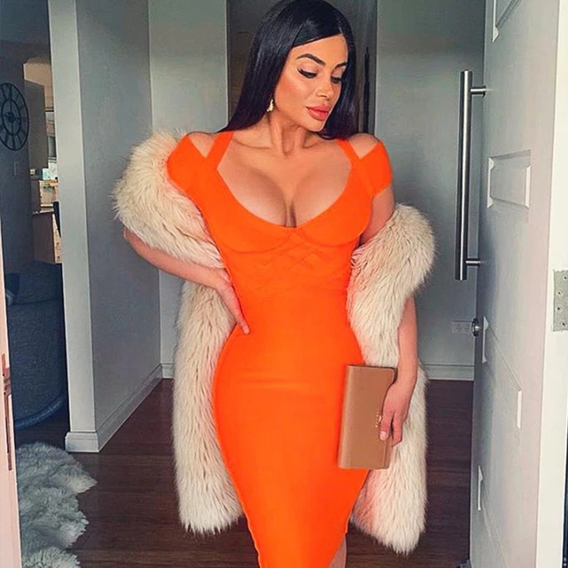 Women Bandage Dress Kendall Jenner Outfits Elegant Summer Off Shoulder Bandage Dress Orange Sexy Bodycon Dress Party Club 3