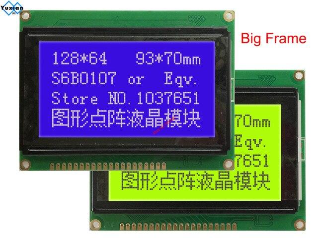 128*64 Módulo de pantalla lcd STN pantalla azul verde retroiluminación blanca 5v s6b0107 LCM12864C 1 en lugar WH12864A LM12864LFW envío gratis