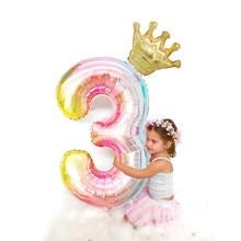1set 40 zoll Gradient Große Anzahl Folien Ballons 0 1 2 3 4 5 6 7 jahre Alt Baby glücklich Geburtstag Party Dekoration Baby Shower Decor