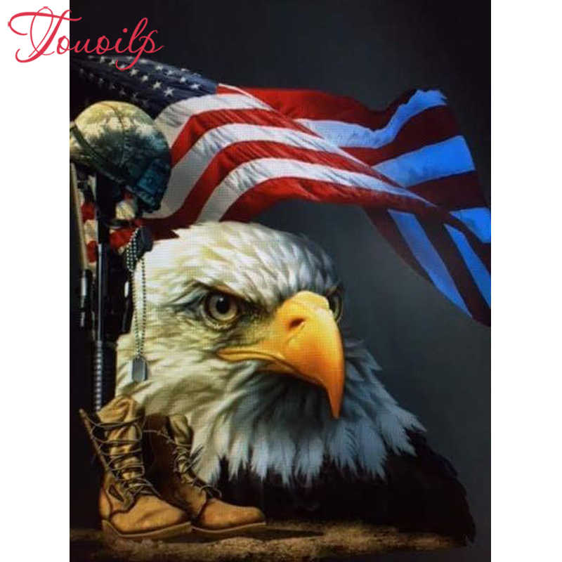 "Persegi & Putaran Bor 5D DIY Diamond Lukisan ""Eagle Flag"" 5D Diamond Bordir Cross Stitch Mosaik Diamond kanvas Dekorasi"