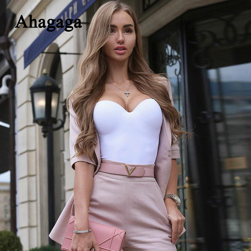 2020 Summer Sexy Bodysuits Women Slim Fashion Spaghetti Straps Skinny Bodycon Solid Color Rompers Club Women Bodysuits Female