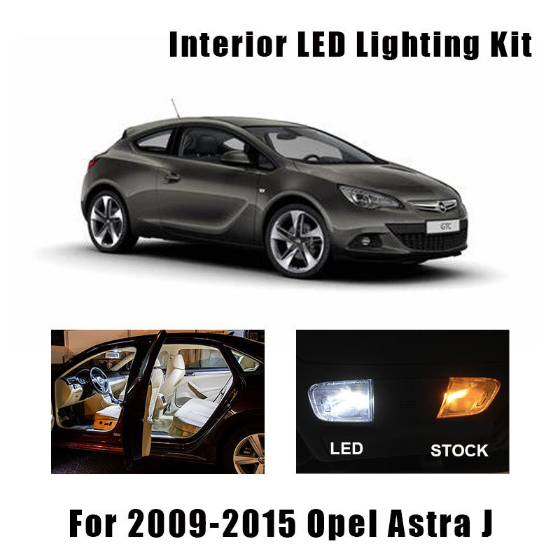 15pcs White Error Free Car LED Map Dome Interior Light Kit Fit For 2009-2015 Opel Astra J OPC GTC Trunk Cargo Reading Light