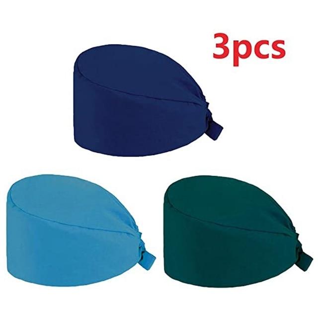 3Pc Frosted Cap Nurse Cap Work Bag Head Dust-Proof Sweat-Proof Belt Isolation Protective Cap 2
