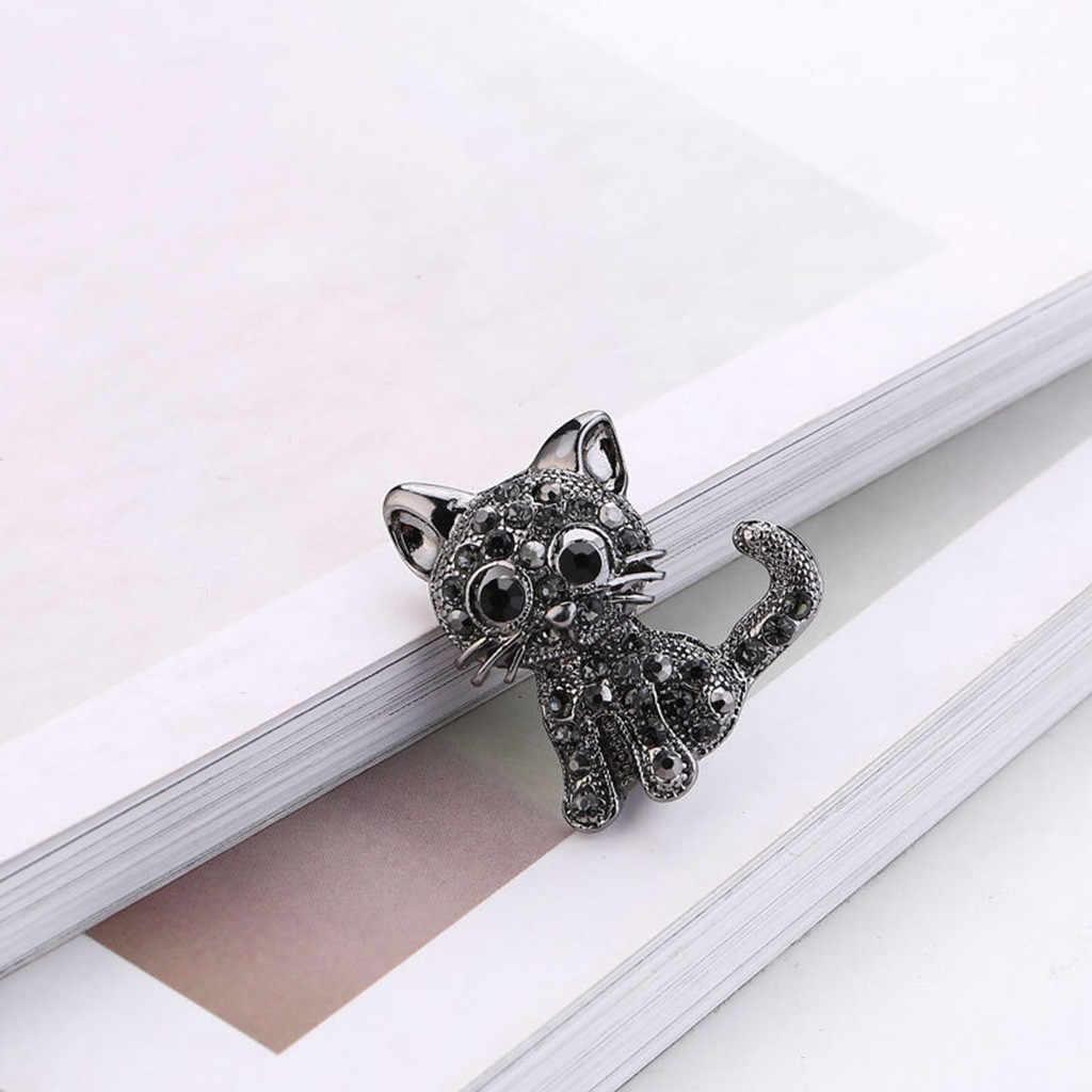 Vintage Hitam Kristal Kucing Lucu Pin Bros Berlian Imitasi Hewan Bros Wanita Pin Up Kucing Bros Perhiasan Kerah Aksesoris