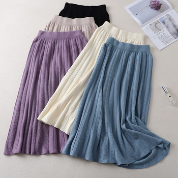 Winter Women Pleated Skirts Elastic High Waist Thick Warm Knitted Sweater Skirts Long A Line Midi Purple Skirt JK323 han edition of new winter skirts long elastic waist side split knitted dress