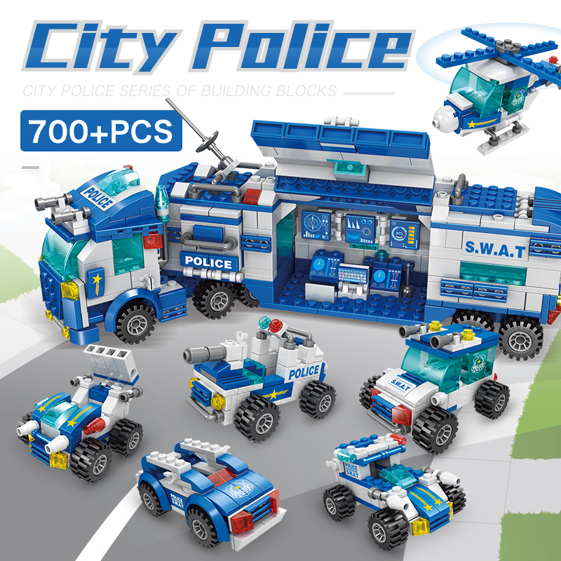 700 Pcs 27style Robot Aircraft Car City Police Building Blocks Sets DIY Creator military Bricks Multi scene transformation Toys in Blocks from Toys Hobbies