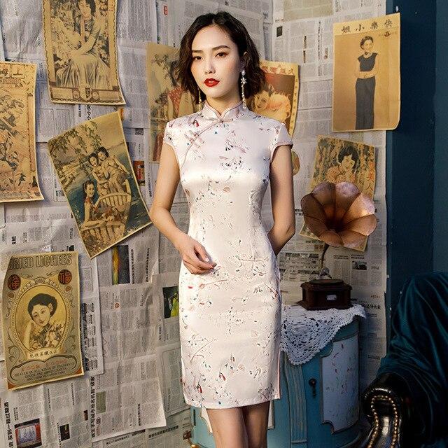 16 צבעים סינית מסורתית שמלת לנשים מיני Cheongsam Qipao משי בגדי רטרו צ י פאו מזרחי סגנון מרובה צבע 3XL