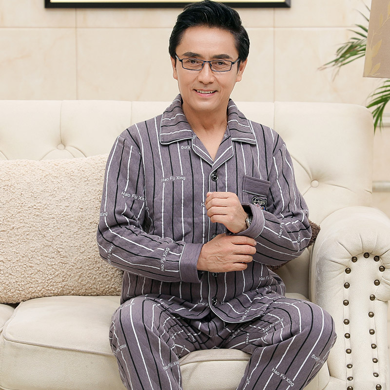 Three-layer Thick Laminated Pajamas Male Striped Pajamas Set Full Cotton Men 2pcs/set Warm Autumn Winter Plus Size Home Clothes