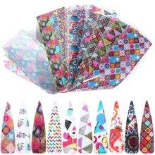 10 pçs colorido conjunto de folha de unhas decalques adesivos adesivos adesivos unhas arte transferência folhas decorações manicure sliders TRXKH40 53 55