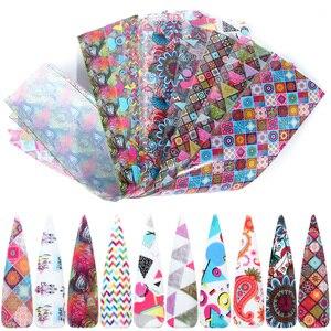 Image 1 - 10pcs Colorful Nail Foil Set Adhesive Decals Wraps Stickers Nail Art Transfer Foils Decorations Manicure Sliders TRXKH40 53 55
