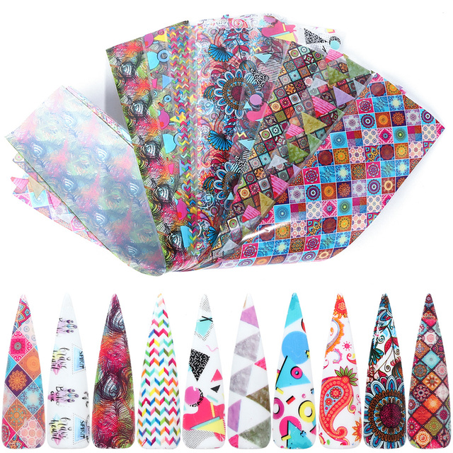 10pcs Colorful Nail Foil Set Adhesive Decals Wraps Stickers Nail Art Transfer Foils Decorations Manicure Sliders TRXKH40 53 55