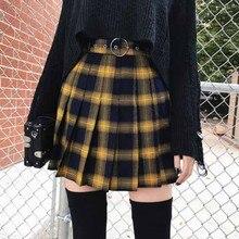 Модная мини-юбка в стиле Харадзюку с высокой талией, Короткие плиссированные юбки для женщин, консервативный стиль, униформа для девушек, кавайная желтая клетчатая мини-юбка