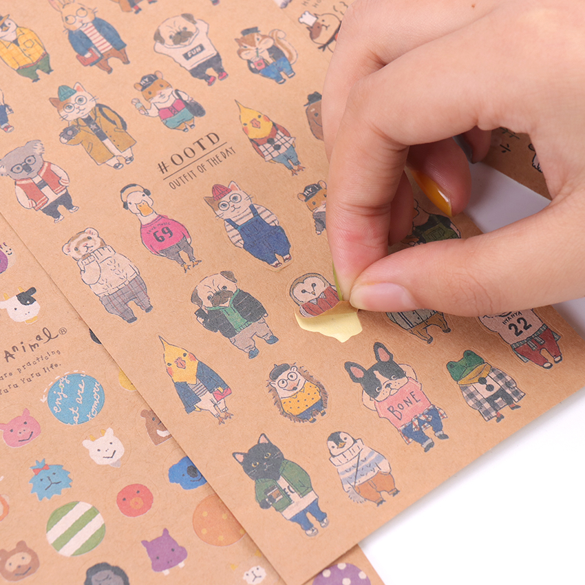 Japanese Kraft Paper Cute Cat Sticker Diary Decorate Scrapbooking Stationery Stickers Supplies