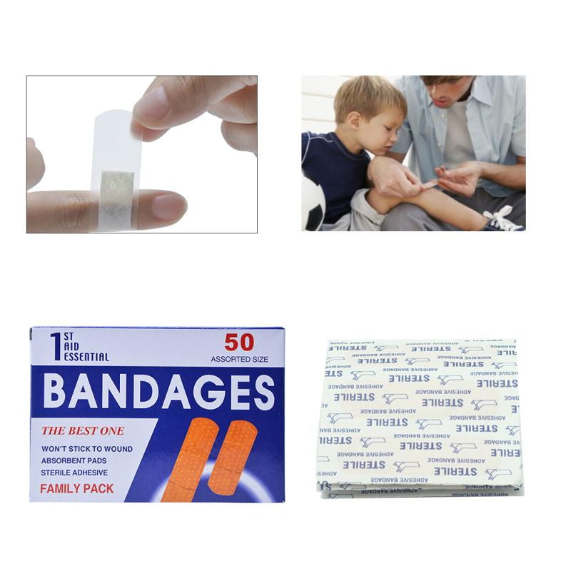 50 Pcs/Box Waterproof Wound Adhesive Paster Medical Anti-Bacteria Band Aid Bandages Sticker Home Travel First Aid Kit Supplies