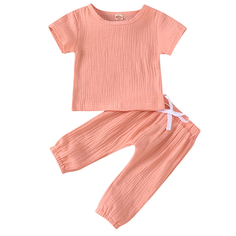 Infant Baby Boys Girls Clothes Pure Color Cotton Linen Short Sleeve Tops+Pants Summer Toddler Baby Boys Girls Clothing Outfit 4