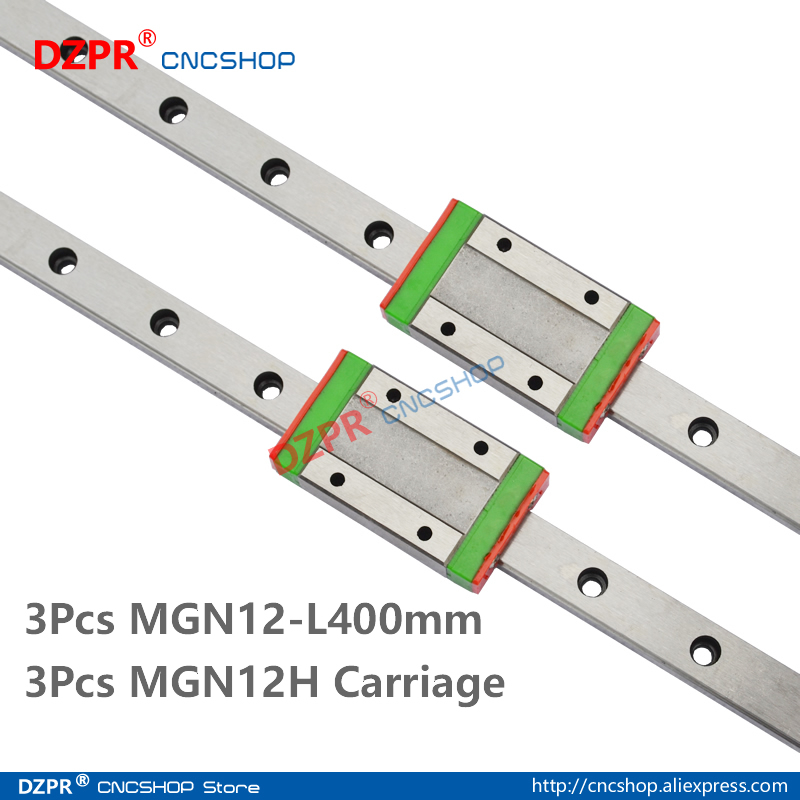 MGN12 400mm 3Pcs 15.75 in Miniature Linear Rail 3Pcs MGN12H Carriage Block for 3D Printer CNC Machine CNC Parts
