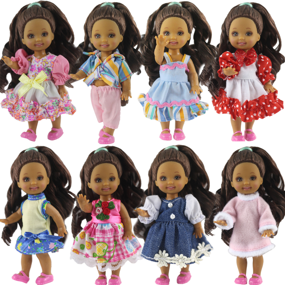 NK One Pcs/Set Cute Mini Doll Dress Daily Wear Gown Clothes For Barbie Sister Kelly Doll Accessories Dollhouse Toys JJ