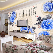 цена на Custom wallpaper 3D photo mural peony jade carved rich Chinese painting TV background wall living room bedroom hotel wallpaper