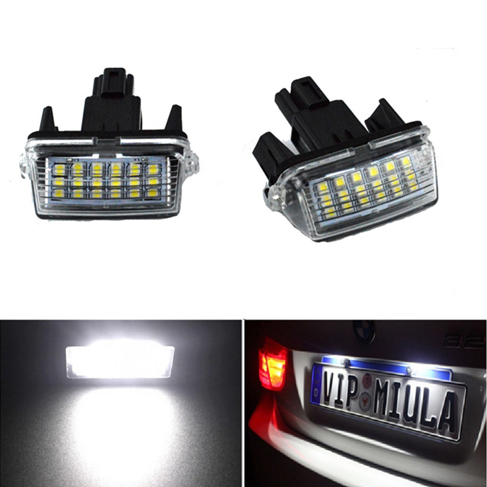 2pcs Car License Plate Lights White Error Free LED Number Lamps For <font><b>Toyota</b></font> <font><b>Corolla</b></font> Camry Yaris Prius C Ractis Verso Vitz Avensis image