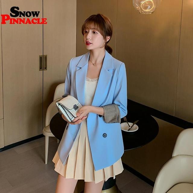 Women Blazer Autumn Casual double botton Women Blazer Pockets Jackets Female Retro Suits Coat Feminino blazers 4