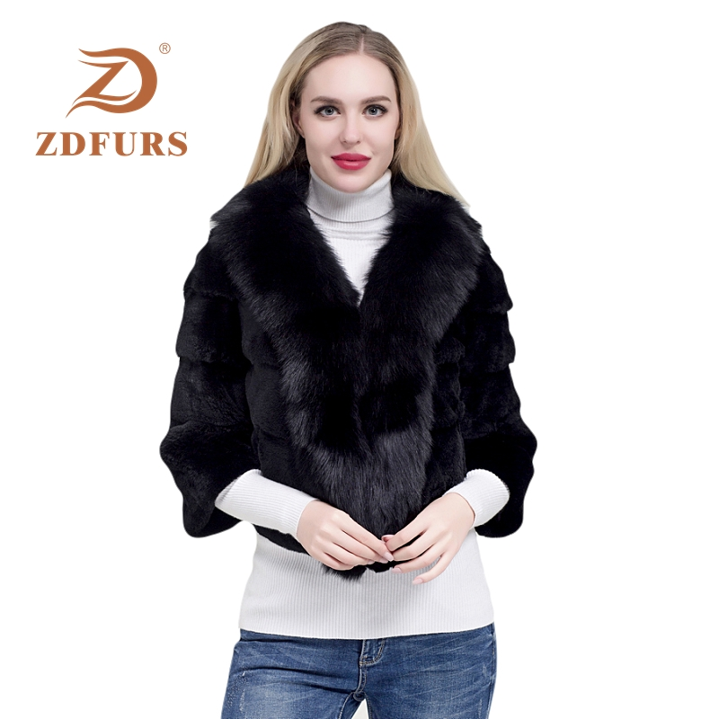 ZDFURS* 2019 new fashion whole skin rex rabbit fur coat female winter big fox collar warm outerwear