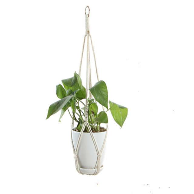 ขายร้อนHandmade Macrameหม้อถาดPlant Pot Hanger P Macrame Plant Hangerแขวนพืชสำหรับพืชสวนถาด